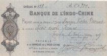 Indo-Chine Fr. Chèque 300 Francs Banque de l\'Indochine - 1919