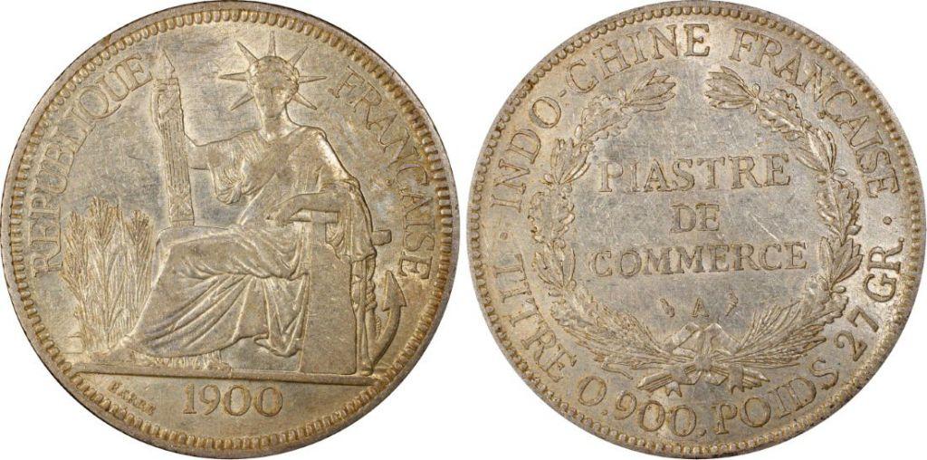 Indo-Chine Française 1 Piastre Liberté assise - 1900 A - PCGS AU 53 - Lec 282