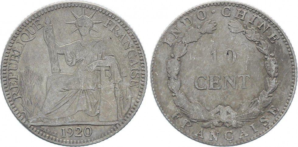 Indo-Chine Française 10 Cents République et Laurier - A-Paris - 1920