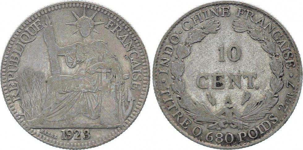 Indo-Chine Française 10 Cents République et Laurier - A-Paris - 1923