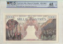Indo-Chine Française 1000 Piastres, Eléphants - Spécimen 1951 PCGS 65 OPQ n°63