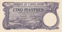 Indo-Chine Française 5 Piastres Bateaux, fleurs (sans décret) - Spécimen 9210