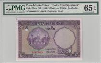 Indo-Chine Française 5 Piastres Plage type Laos - Spécimen PMG UNC 65 EPQ
