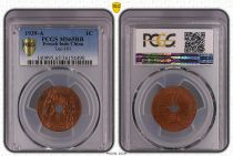 Indochina Francesa 1 Céntimo Estatua Republicana - 1939 A - PCGS MS65 RB