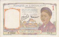 Indochina Francesa 1 Piastre - Mujer - Templo - Firma . Laurent, Minost - 1950