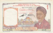 Indochina Francesa 1 Piastre ND1952 - Woman, Temple