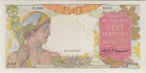 Indochina Francesa 100 Piastres ND1949 Mercure, Specimen - PCGS MS 64
