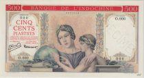 Indochina Francesa 500 Piastres ND1951 red background, Specimen - PCGS AU 58