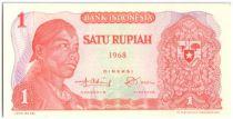 Indonesia 1 Rupiah Gal Sudirman, woman collecting copra - 1968