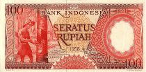 Indonesia 100 Rupiah, Rubber plantation - 1959 - P.58