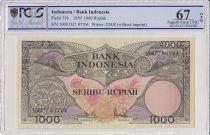 Indonesia 1000 Rupiah Bird of Paradise - 1959 - PCGS 67 OPQ