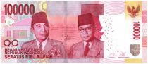 Indonesia 100000 Rupiah Soekarno and Hatta - Parliament bldg 2014