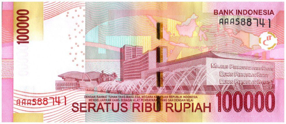 Indonesia 100000 Rupiah Soekarno and Hatta - Parliament bldg 2014