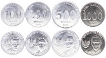 Indonesia Serial of 4 coins 100 to 1000 Rupiah 2016