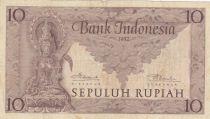 Indonésie 10 Rupiah Déesse Prajnaparamita - 1952