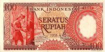Indonésie 100 Rupiah,  Plantation de caoutchouc - 1959 - P.58