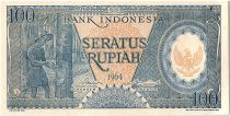 Indonésie 100 Rupiah,  Plantation de caoutchouc - 1964 - P.98