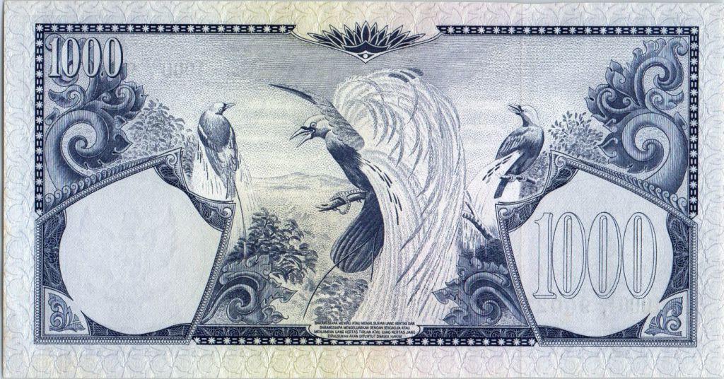 Indonésie 1000 Rupiah Oiseaux de Paradis - 1959