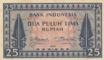 Indonésie 25 Rupiah Imprimé de vêtements - 1952
