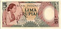 Indonésie 5 Rupiah,  Femme - Maison - 1955 - P.55