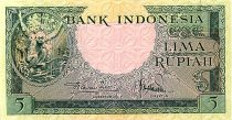 Indonésie 5 Rupiah,  Oran-Outan - Temple Prambanan - 1957 - P.49
