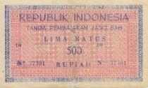 Indonésie 500 Rupiah Rose et bleu