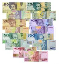 Indonésie Série 7 billets 2016 - Nouvelle Gamme 1000 à 100000 Rupiah
