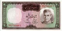 Iran 20  Rials , Mohammad Reza Pahlavi - 1969 -  P.84