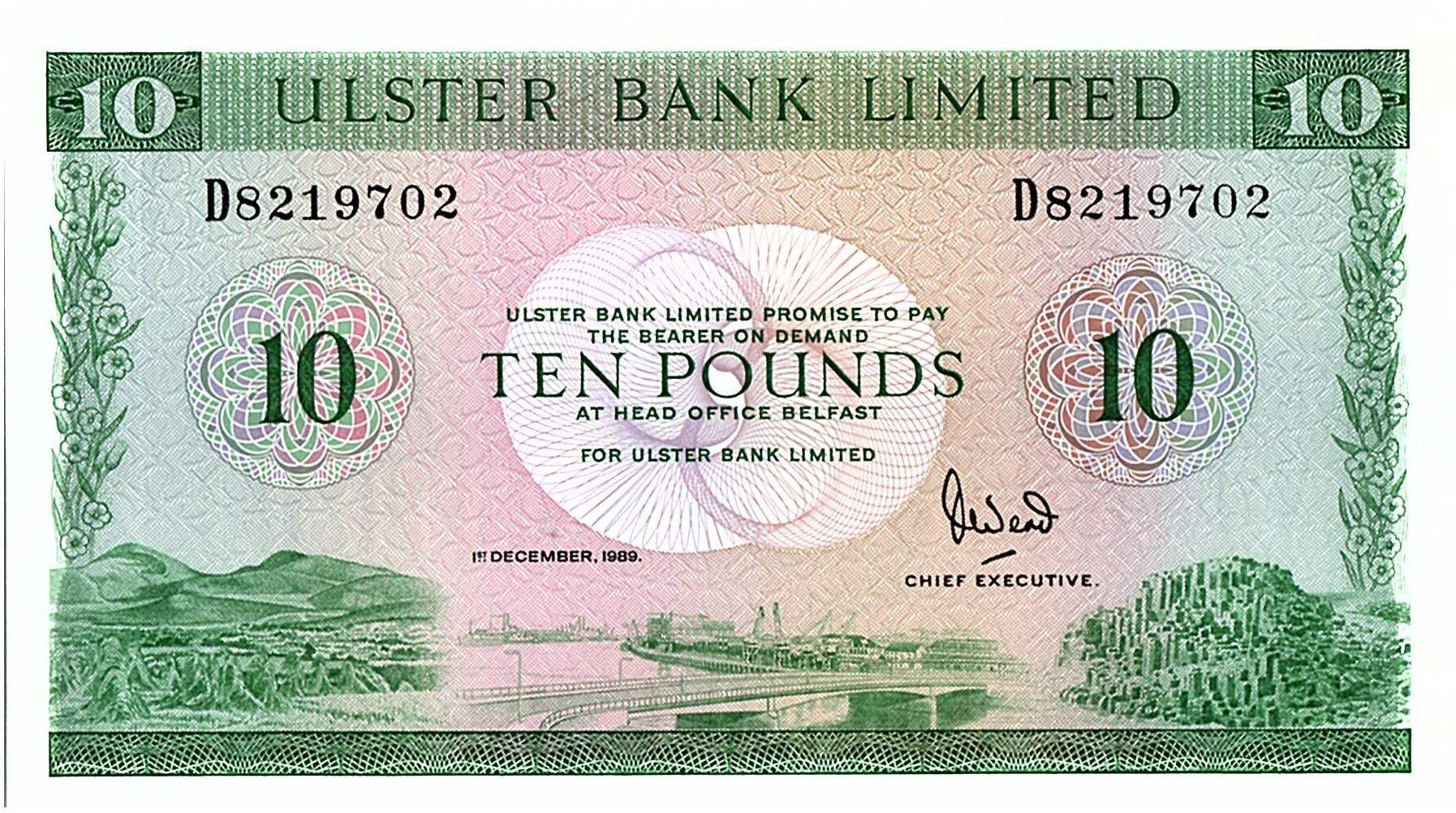 Ireland - Northen 10 Pounds Ulster Bank - 1989 - P.327 d