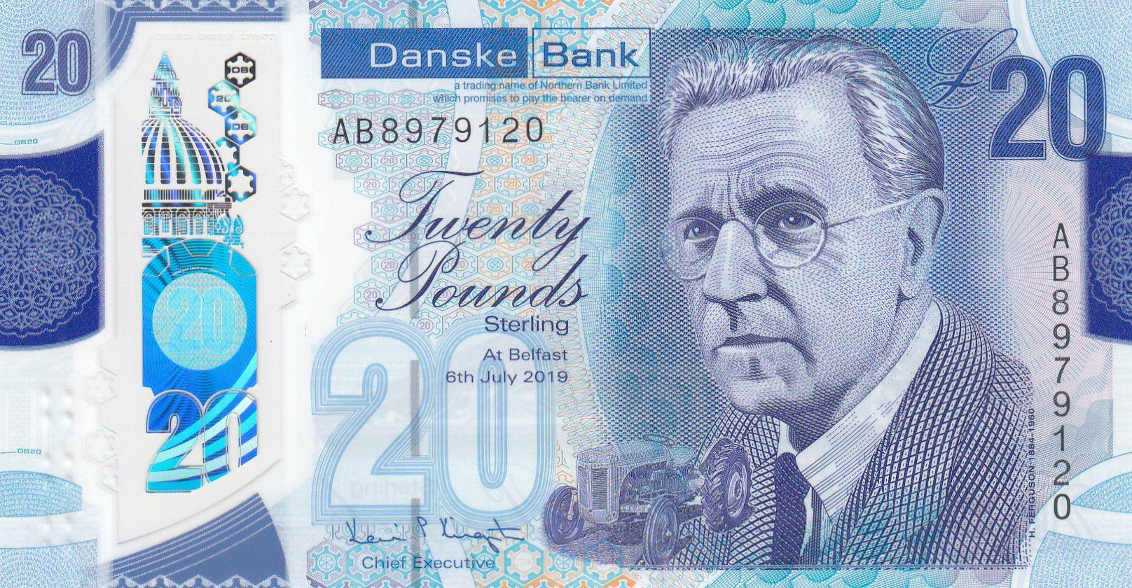 Ireland - Northen 20 Pounds H. Ferguson - Danske Bank 2019 (2020) - UNC - Polymer