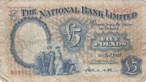 Ireland - Northen 5 Pounds National Bank Limitd 1937 - aF - P156 a