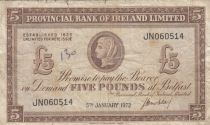 Ireland - Northen 5 Pounds Provincial Bank Limited 1972 - F +- P.246 Serial JN