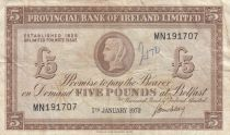 Ireland - Northen 5 Pounds Provincial Bank Limited 1972 - F +- P.246 Serial MN