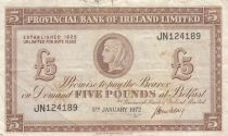 Ireland - Northen 5 Pounds Provincial Bank Limited 1972 - VF- P.246 Serial JN