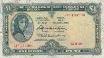 Irland 1 Pound 16-03-1962 -  Lady Lavery - Serial 74F