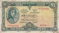 Irlande 1 Pound 16-03-1962 -  Lady Lavery - Série 77F