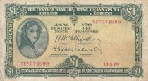 Irlande 1 Pound 18-05-1960 -  Lady Lavery - Série 52F 2ème ex.