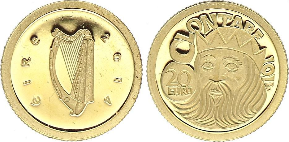 Irlande 20 Euro, Bataille de Clontarf - 2014 - Or - Sans coffret ni certificat