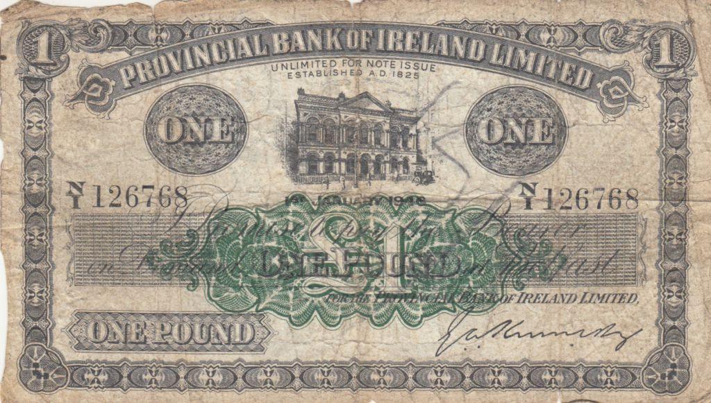 Irlande du Nord 1 Pound Provincial Bank Limited 1946 - B+ - P.235b