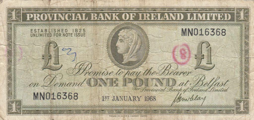 Irlande du Nord 1 Pound Provincial Bank Limited 1968 - P.TB - P.245