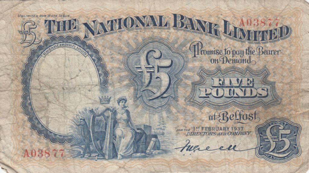 Irlande du Nord 5 Pounds National Bank Limitd 1937 - p.TB - P156 a
