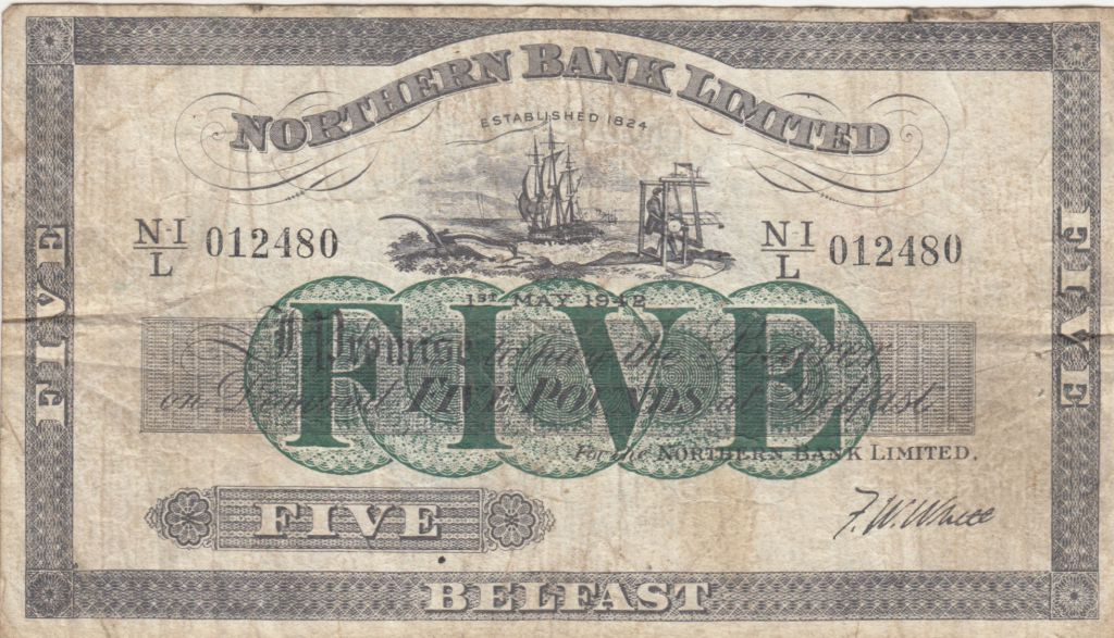 Irlande du Nord 5 Pounds Northern Bank Limited 1942 - Série NI/L - TB - P.180