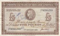 Irlande du Nord 5 Pounds Provincial Bank Limited 1968 - TTB - P.246