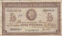 Irlande du Nord 5 Pounds Provincial Bank Limited 1972 - TB+ - P.246 - Série JN