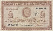 Irlande du Nord 5 Pounds Provincial Bank Limited 1972 - TB+ - P.246