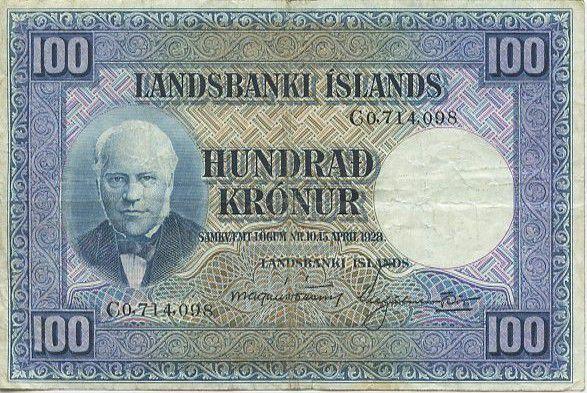 Islande 100 Kronur J. Sigurdsson - Moutons