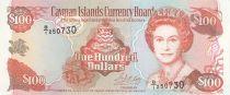 Islas Caimán 100 Dollars 1996 - Elizabeth II, harbor view - Serial B1