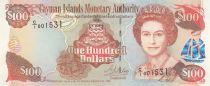 Islas Caimán 100 Dollars 1998 - Elizabeth II, harbor view - Serial C1