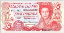 Islas Malvinas 5 Pounds Elizabeth II, penguins - Village - 2005