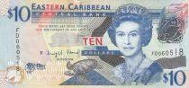 Isole dei Caraibi 10 Dollars Elizabeth II - Admiratly Bay - the Warspite boat  - 2008